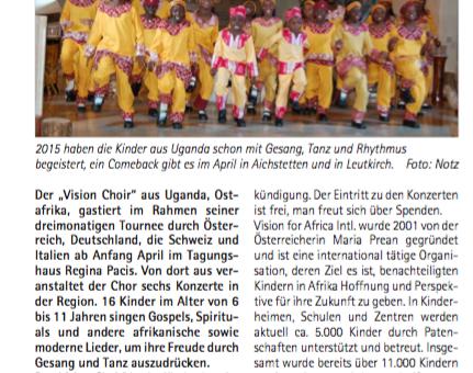 Vision Choir Konzert-Ankündigung (Artikel)