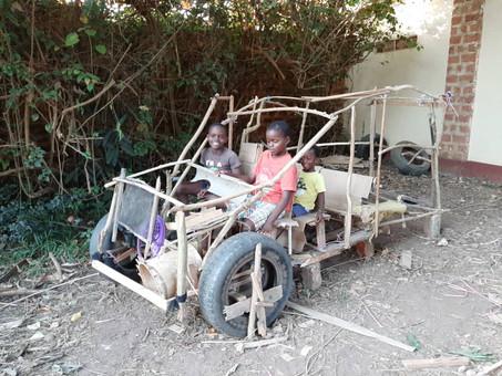 Creative kids building their own car