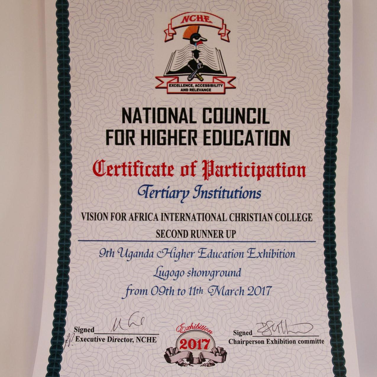 2. Platz Zertifikat