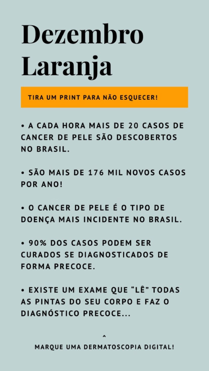 Dezembro laranja: Conheça a Campanha Nacional de Prevenção ao Câncer da Pele