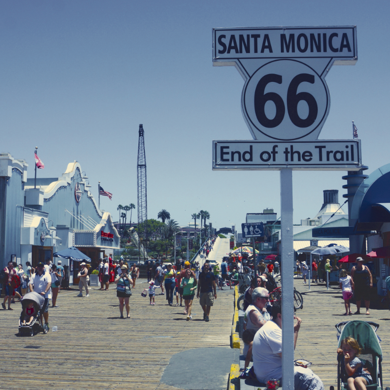 The Santa Monica Pier at the end of Route 66