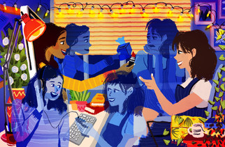 Illustration for BuzzFeed UK on internet friends and relationships