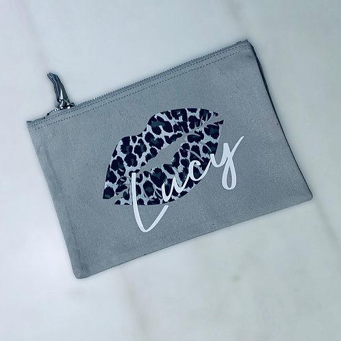 Leopard print Personalised Make up/pencil accessory bag