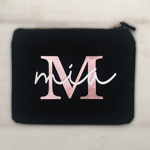 Initial & Name makeup/pencil/accessory bag, Black & Rose Gold