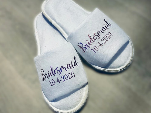 Bridal party Slippers - Personalised with name