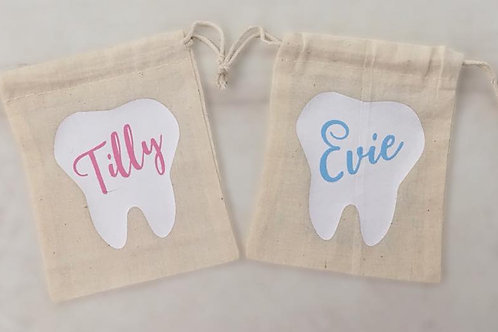 Personalised Tooth Fairy Bags, with cute message to the Fairy on the back