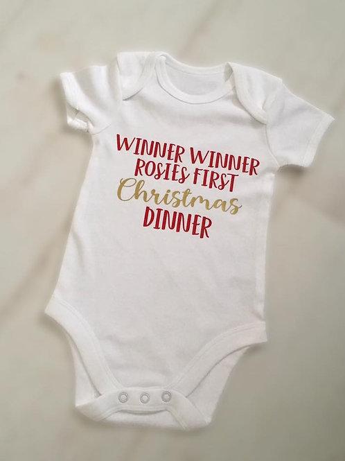 Baby vest - Winner, Winner 1st christmas dinner