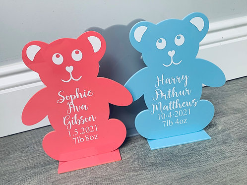 Personalised, Acrylic, Free standing Teddy bear sign