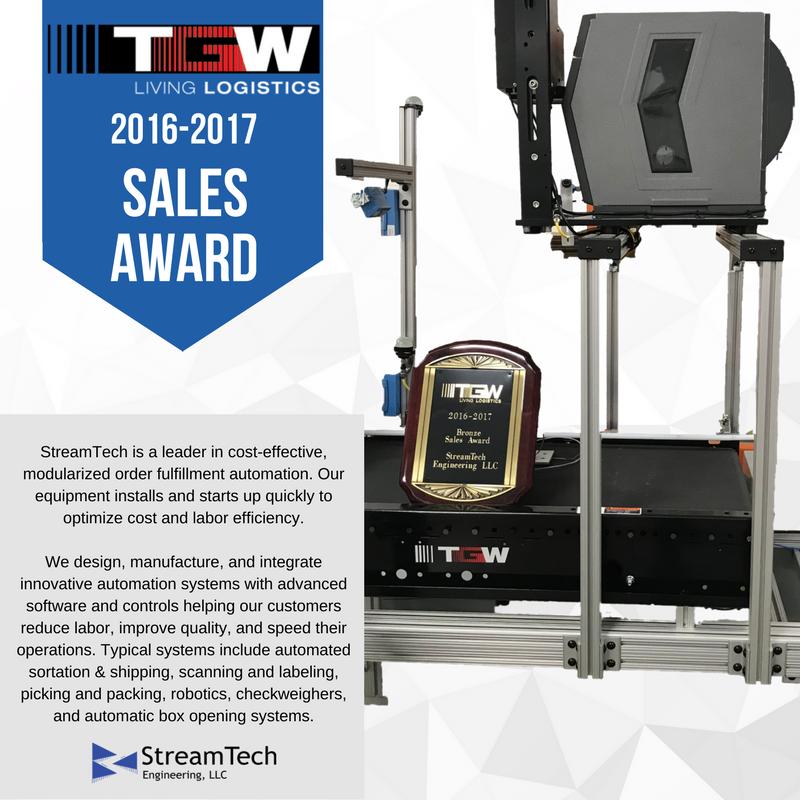 TGW Conveyor Sales Award, Streamtech Engineering Sprinter