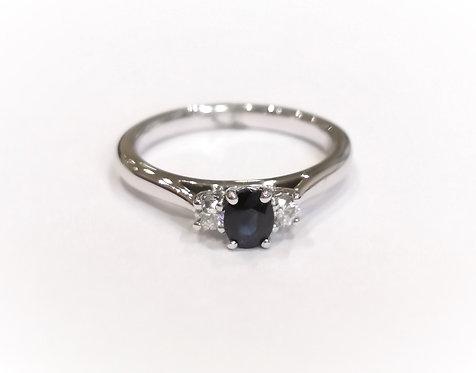18ct White Gold Sapphire and Diamond Three Stone Ring