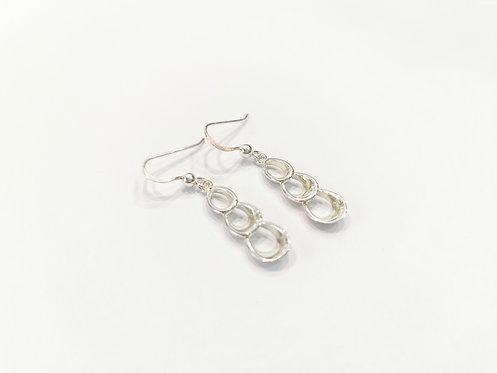 Silver Open Loop Drop Earrings