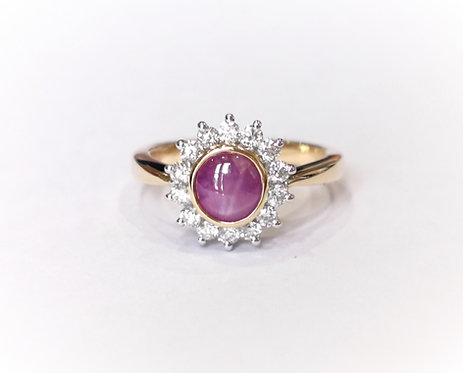 18ct Yellow Gold Star Ruby and Diamond Cluster Ring