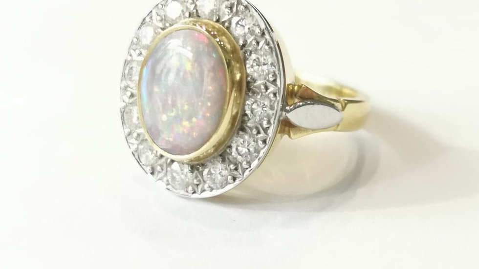 18ct Gold Opal and Diamond Cluster Ring