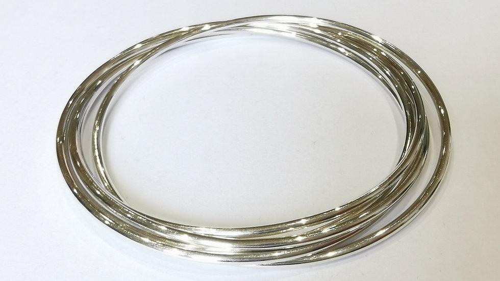 Silver Five Ring Fine Russian Bangle