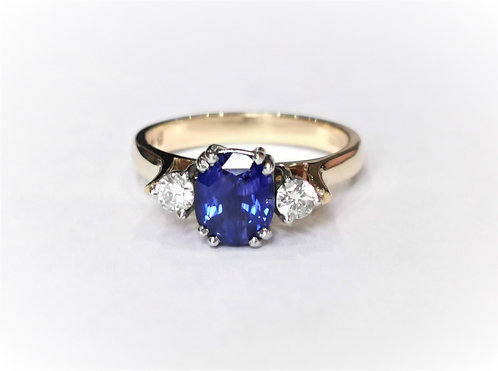 18ct Yellow Gold Sapphire and Diamond Three Stone Ring