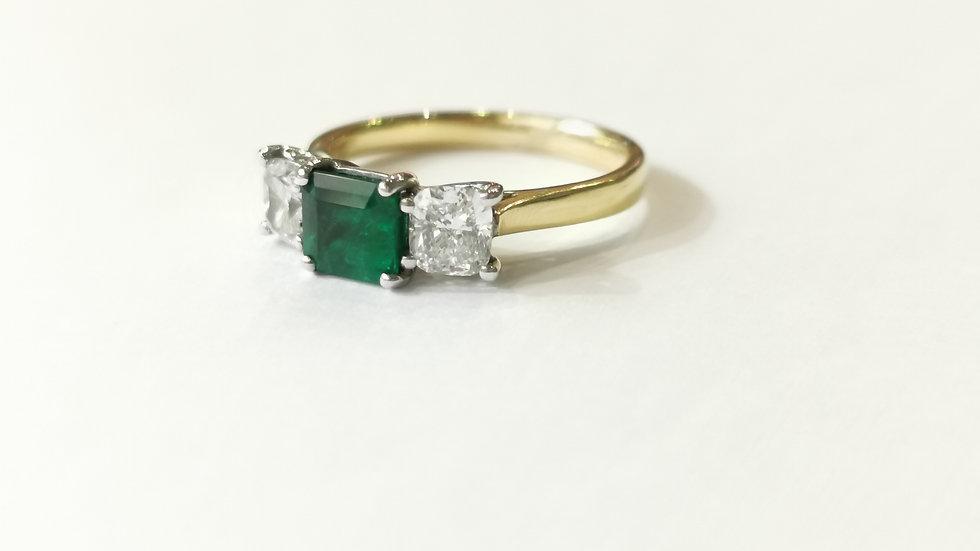 18ct Yellow Gold Emerald and Diamond Three Stone Ring