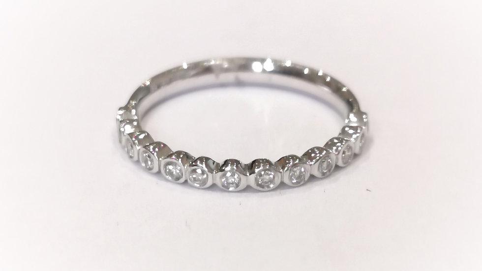 18ct White Gold Rubover Diamond Set Half Eternity Ring