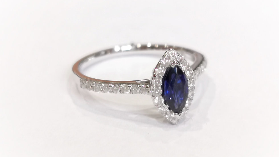 18ct White Gold Sapphire and Diamond Marquise Halo Ring