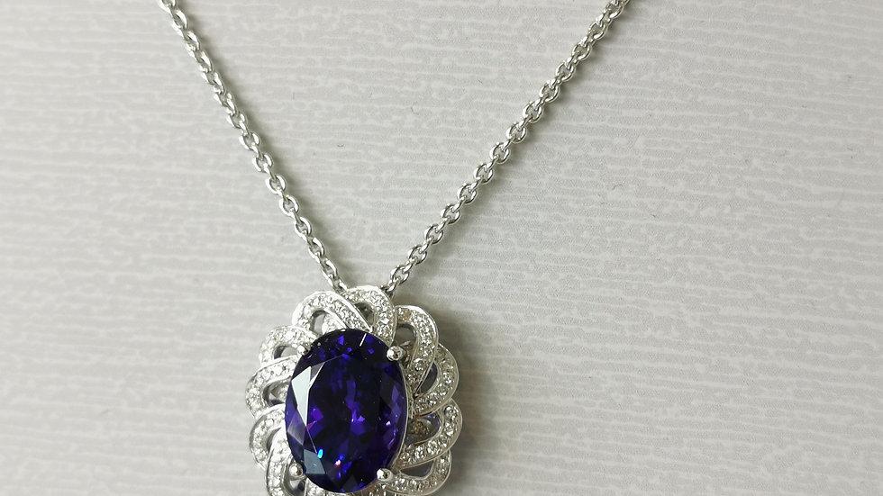 18ct White Gold Tanzanite and Diamond Pendant and Chain
