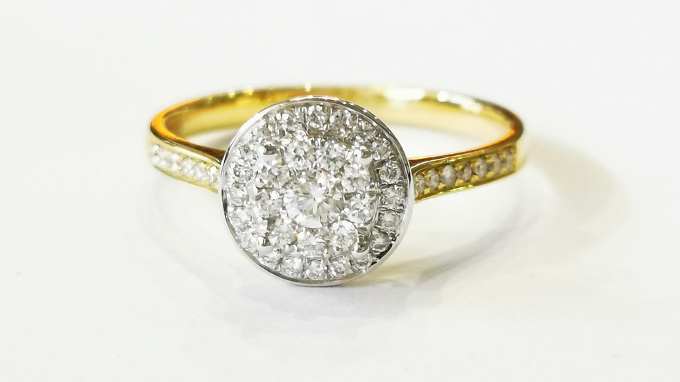 18ct Yellow Gold Diamond Illusion Halo Ring