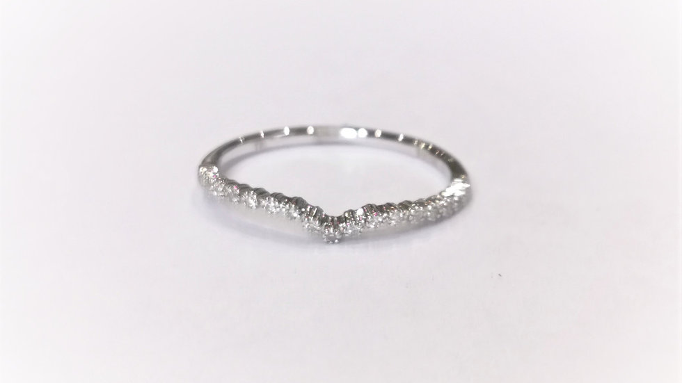 18ct White Gold Dainty Diamond Wishbone Ring