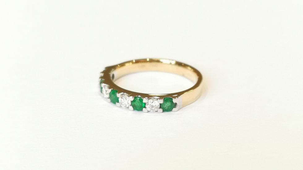 18ct Yellow Gold Emerald and Diamond Half Eternity Ring