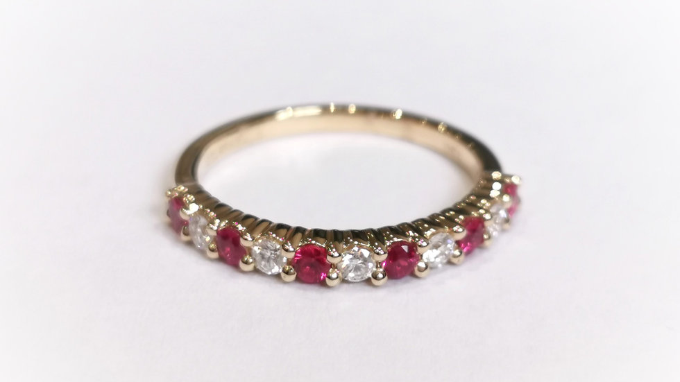 18ct Yellow Gold Claw Set Ruby and Diamond Half Eterbity Ring