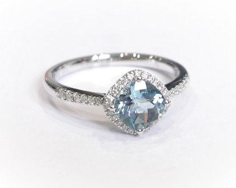 9ct White Gold Aquamarine and Diamond Halo Ring