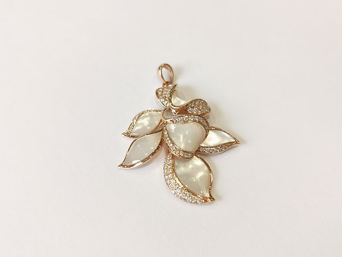 18ct Rose Gold Mother of Pearl and Diamond Floral Pendant