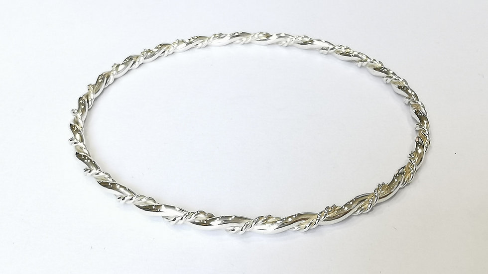 Silver Twisted Slave Bangle