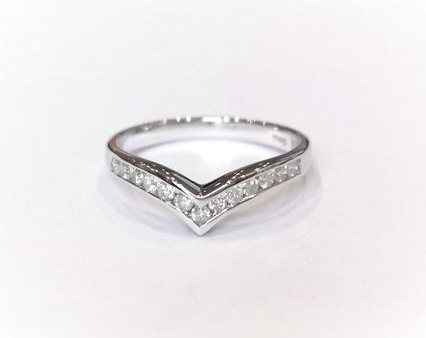 18ct White Gold Diamond Wishbone Wedding / Eternity Ring