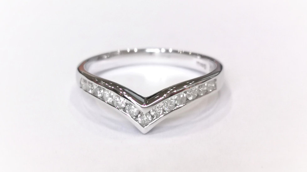 18ct White Gold Diamond Wishbone Wedding / Eternity Ring