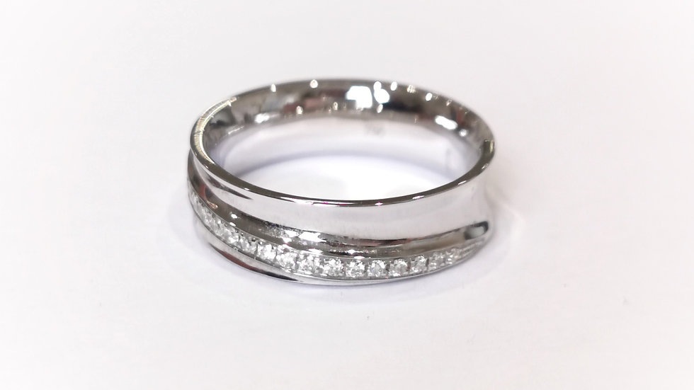 39363 18CT 0.25CT M.5 1080 18ct White Gold Wide Concave Diamond Set Band