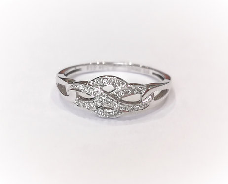 9ct White Gold Diamond Set Twist Design Ring