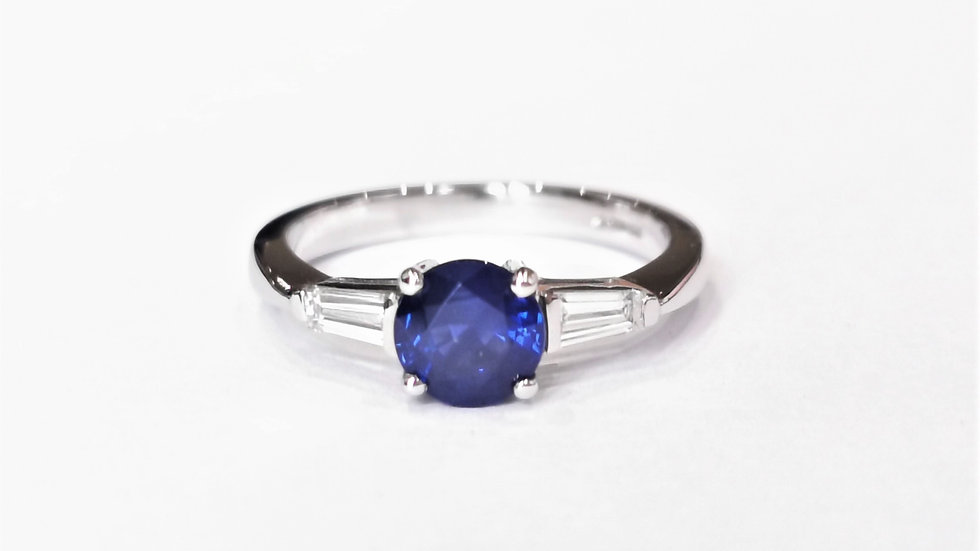 Platinum Sapphire and Diamond Three Stone Ring