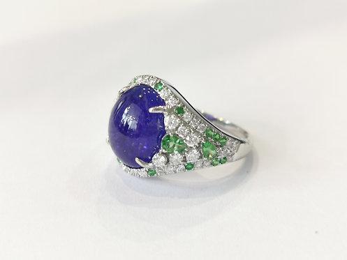 Bespoke Tanzanite, Diamond and Tsavorite Garnet Ring