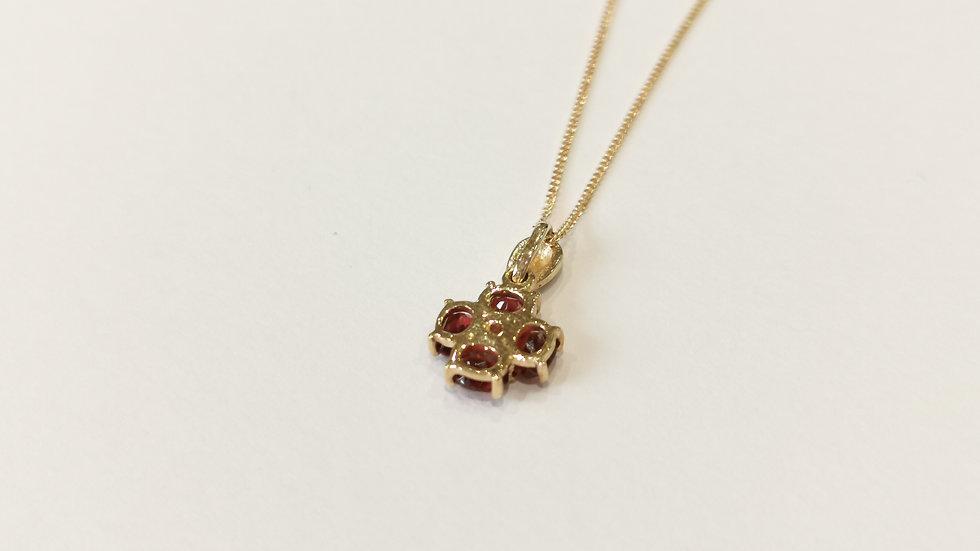9ct Yellow Gold CZ & Garnet Pendant on Chain