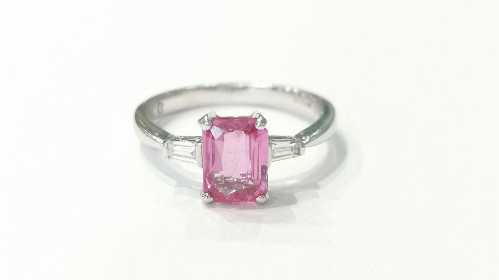 18ct White Gold Pink Sapphire and Dimaond Ring