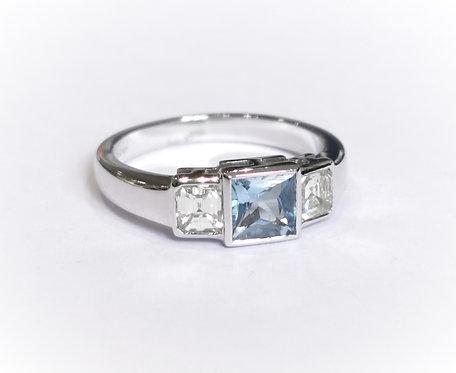 18ct White Gold Rubover Aquamarine and Diamond Three Stone Ring