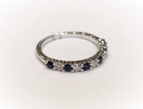 18ct White Gold Claw Set Sapphire and Diamond Half Eternity Ring