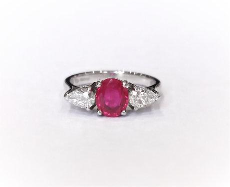 Platinum Ruby and Diamond Three Stone Ring