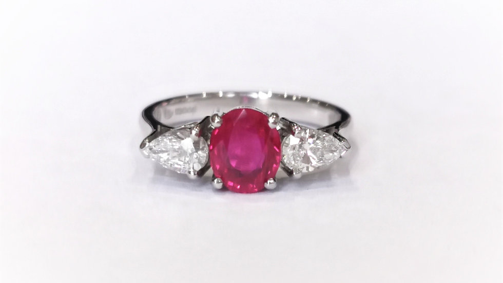 Platinum Ruby and Diamond Three Stone Ring