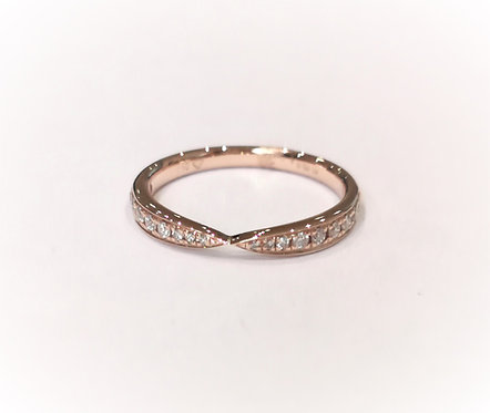 18ct Rose Gold Twist Diamond Set Band,
