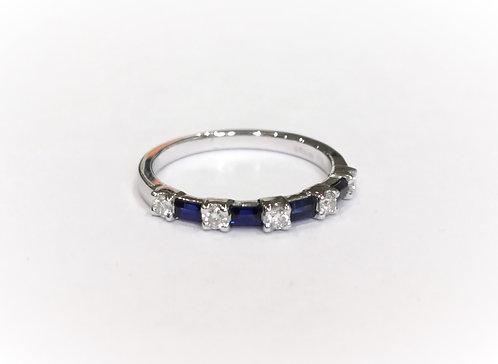Platinum Alternate Cut Sapphire and Diamond Half Eternity Ring