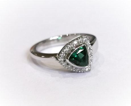 9ct White Gold Green Tourmaline and Diamond Ring