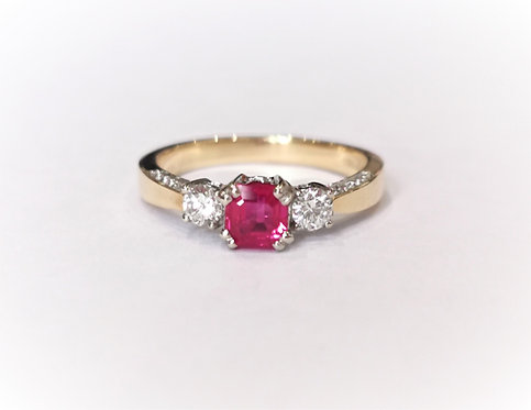 18ct Yellow Gold Ruby and Diamond Three Stone Ring