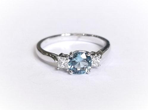 18ct White Gold Aquamarine and Diamond Three Stone Ring