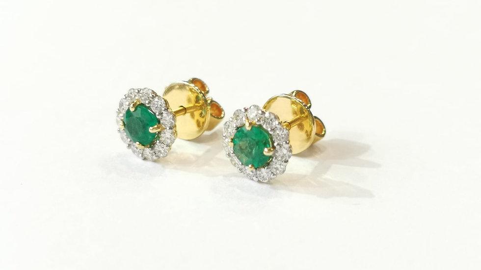 18ct Yellow Gold Emerald and Diamond Stud Earrings