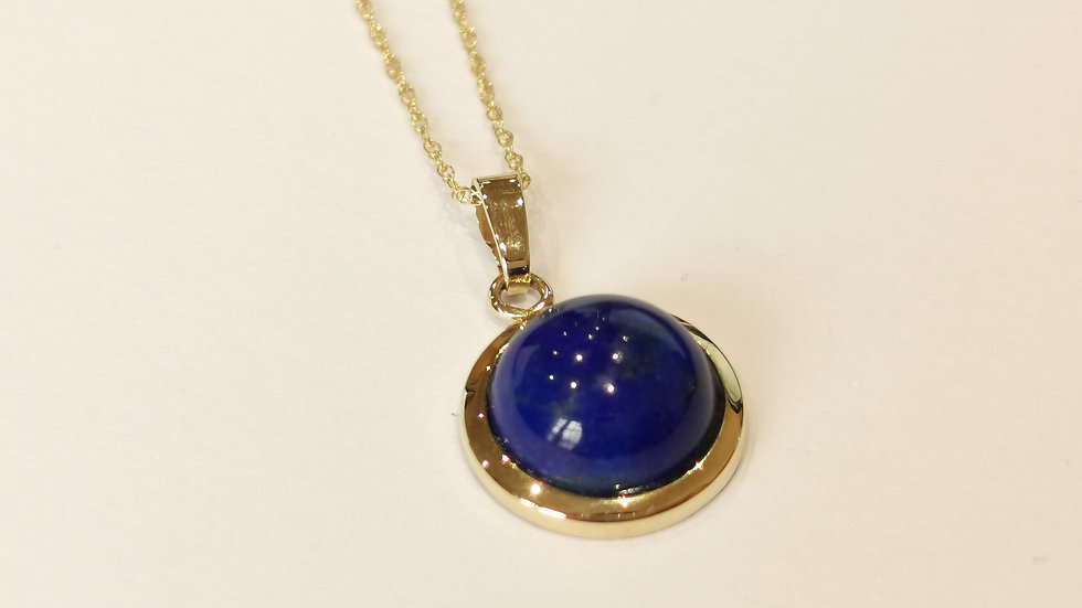 9ct Yellow Gold Lapis Lazuli Pendant and Chain