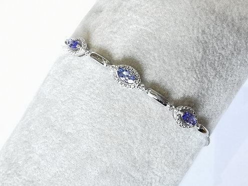 Silver, Tanzinite and cz Toggle Bracelet